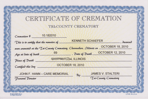 how to get a cremation certificate